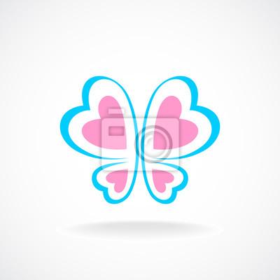 Schmetterlings-logo-vorlage. sanfte farben. herzförmigen flügeln ...