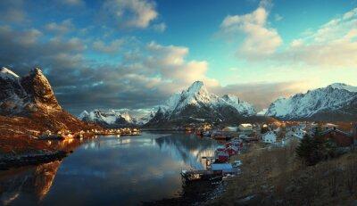 Fototapete Schnee in Reine Village, Lofoten Islands, Norwegen