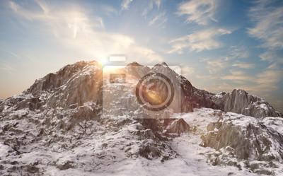 Fototapete Schneebedeckte Berge. Winterlandschaft