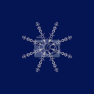 Schneeflocke Auf Einem Blauen Hintergrund Hand Zeichnen Abbildung Fototapete Fototapeten Schone Januar Merry Myloview De