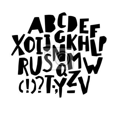 Schneiden Sie Alphabet. Schwarze Buchstaben. Großbuchstaben.