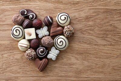 Fototapete Schokolade Bonbons Herzen