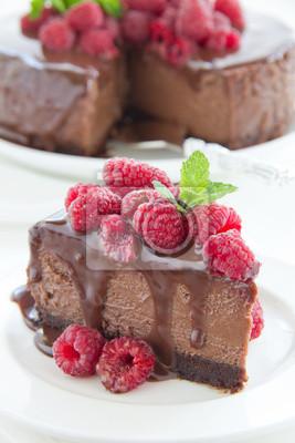 Schokoladen Kasekuchen Mit Himbeeren Fototapete Fototapeten Obst