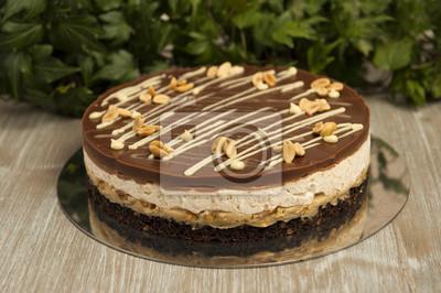 Fototapete Schokoladenkuchen Mit Erdnüssen, Snickers Kuchen
