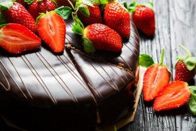 Fototapete Schokoladenkuchen mit frischen Erdbeeren