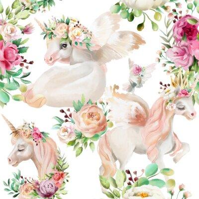 Fototapete Schön, Aquarelleinhornprinzessin, Pegasus in der Goldkrone und mit Blumen, blüht Pfingstrose und rosafarbene Blumensträuße und Taube auf nahtlosem Muster des weißen Hintergrundes