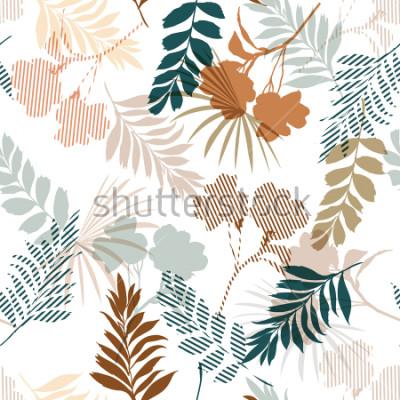 Fototapete Schön vom tropischen Laub des Schattenbildes und füllen Sie Streifenblätter im nahtlosen Muster der bunten Stimmung im Vektor für Modegewebe und alle Drucke auf Weiß aus