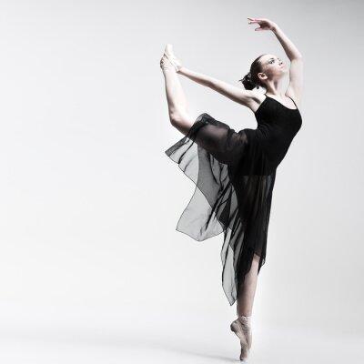 Fototapete Schöne Ballett-Tänzerin posiert auf Studio-Hintergrund