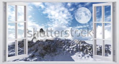 Fototapete Schöne Berglandschaft, der Blick aus dem Fenster.