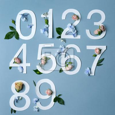 Schöne Blumenzusammensetzung mit den Zahlen gemacht vom Papier auf hellem Hintergrund