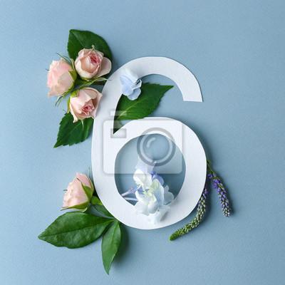 Schöne Blumenzusammensetzung mit Nr. Sechs gemacht vom Papier auf Farbhintergrund