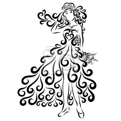 Schöne Braut Muster Mit Linien Mit Locken Fototapete Fototapeten