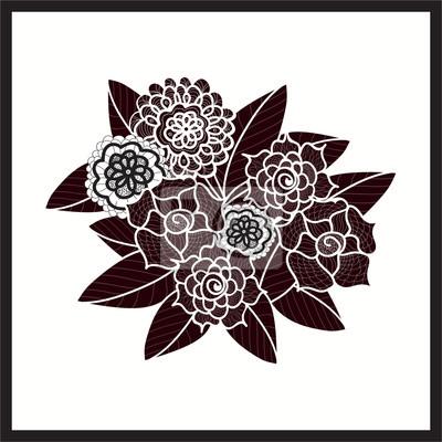 Schöne doodle kunst blumen. zentangle-muster. handgezeichnetes ...