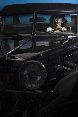 Fototapete Schöne Frau im Reichtum Auto