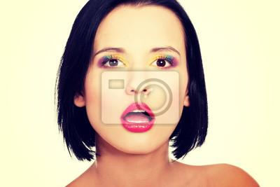 Fototapete Schöne Frau Mit Regenbogen Augen Make Up