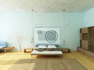 Schöne gemütliche schlafzimmer mit blauen wänden, moderne lampen ...