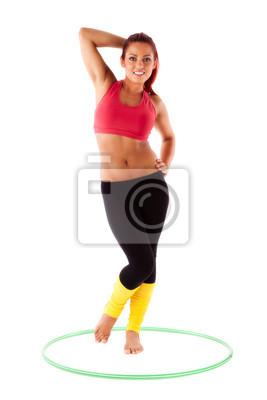 Schone Gesunde Frau Fuhrt Ubungen Mit Hula Hoop Reifen Fototapete