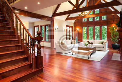 Fototapete Schöne Große Wohnzimmer Innenraum Mit Parkettböden Und Kamin In  Neuen Luxus Haus. Beinhaltet
