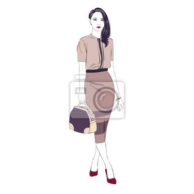 Schone Junge Frauen In Einer Mode Retro Kleidung Midi Bleistift Fototapete Fototapeten Bleiben Hipster Smartphone Myloview De