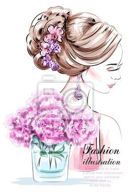 Schöne Junge Mädchen Mit Blumen Mode Frau Mit Schönen Frisur