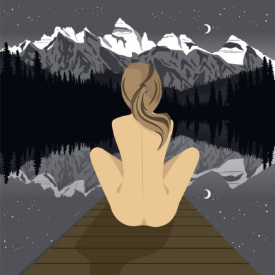 Fototapete Schöne junge nackte Frau sitzt auf Pier Blick auf Bergsee in der Nacht