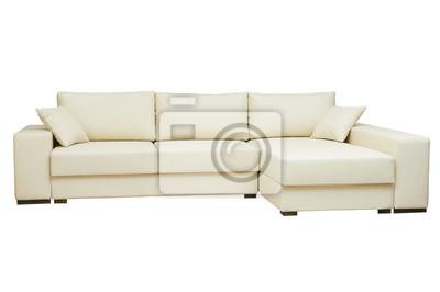 Schöne Ledercouch Beige Farbe Auf Weißem Hintergrund Fototapete