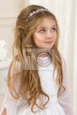 Schöne Mädchen Kleine Prinzessin Lange Haare Lockige Und