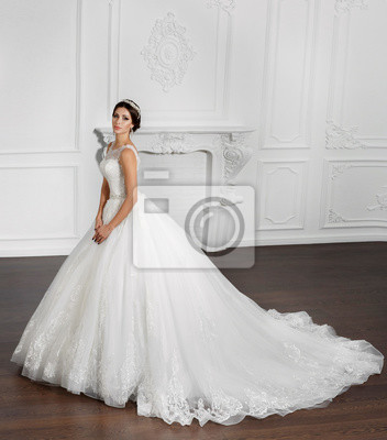 Schone Mode Braut In Luxus Hochzeitskleid Fototapete Fototapeten