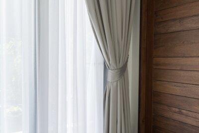 Fototapete Schöne Moderne Graue Und Weiße Vorhänge Im Wohnzimmer