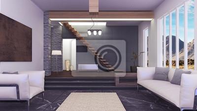 Schöne moderne wohnzimmer innenraum 3d- fototapete • fototapeten ...