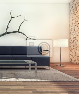 Schöne moderne wohnzimmer innenraum (3d) fototapete • fototapeten ...