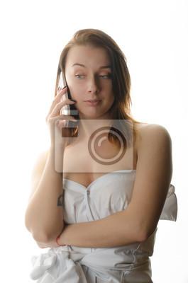 Schöne nackte mädchen und telefon fototapete • fototapeten