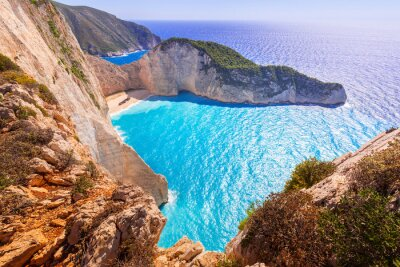 Fototapete Schöne Navagio Beach (Shipwreck Strand) auf der Insel Zakynthos, Griechenland