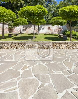 Schöne parkanlage mit terrasse fototapete • fototapeten Steinboden ...