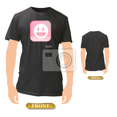 Fototapete Schöne rosa Symbol mit glücklichem Gesicht auf schwarzem Shirt gedruckt