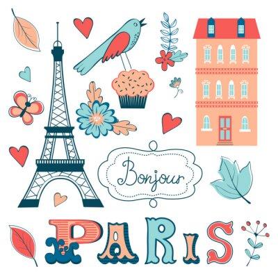 Fototapete Schöne Sammlung von paris bezogenen grafischen Elementen