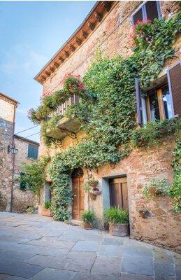 Fototapete Schöne Straße von Montisi, Toskana