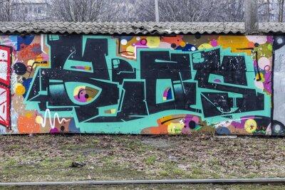 Fototapete Schöne Straßenkunst Graffiti. Zusammenfassung kreative Zeichnung Mode