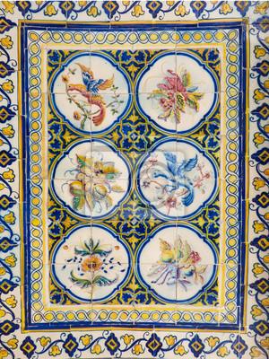 Schöne Und Bunte Portugiesische Fliesen Azulejos Mit Zeichnungen - Portugiesische fliesen azulejos