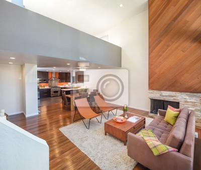 Fototapete: Schöne und große wohnzimmer mit holzböden in