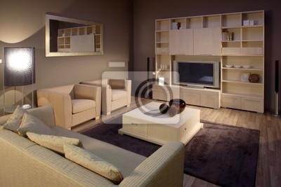 Schöne und moderne wohnzimmer innenarchitektur. fototapete ...