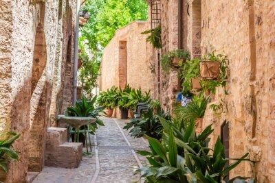 Fototapete Schöne verzierte Veranda in kleinen Stadt in Italien am sonnigen Tag, Umbrien