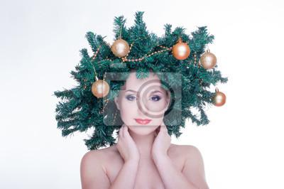 Schone Weihnachtsbaum Feiertags Frisur Und Make Up Fototapete