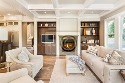 Fototapete Schöne Wohnzimmer Interieur Mit Parkettboden, Kassettendecke Und  Brüllt Feuer Im Kamin In Neue Luxus