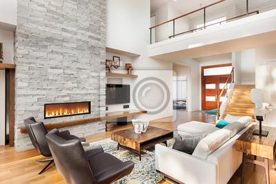 Fototapete Schöne Wohnzimmer Interieur Mit Parkettboden Und Kamin In Neuen  Luxus Haus