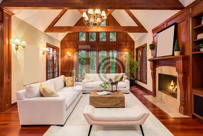 Fototapete Schöne Wohnzimmer Interieur Mit Parkettboden Und Kamin In Neuen  Luxus Haus. Beinhaltet Einbauten