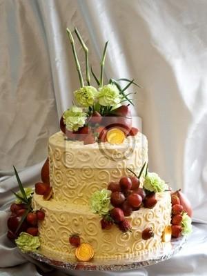 Fototapete Schöne Zwei Tier Kuchen Mit Frischen Früchten Und Blumen