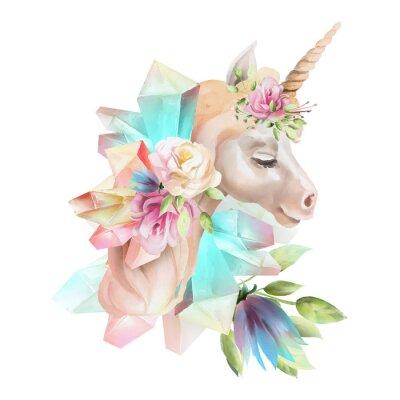 Fototapete Schöner, netter, Aquarelleinhornkopf mit den Blumen, Blumenkrone, Blumenstrauß und magischen Kristallen lokalisiert auf Weiß
