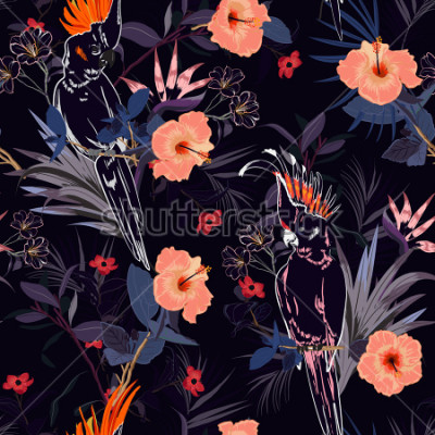 Fototapete Schöner tropischer Blumendruck. Umreißen Sie Papageienvogel im Dschungel und Blumen im Alloverentwurf des exotischen Waldes des Sommers, nahtloser Mustervektor für Mode, wallpaoer und alle Drucke auf