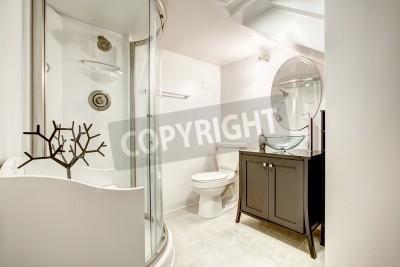 Fototapete: Schönes badezimmer mit dusche und glastür braun schrank mit  waschbecken